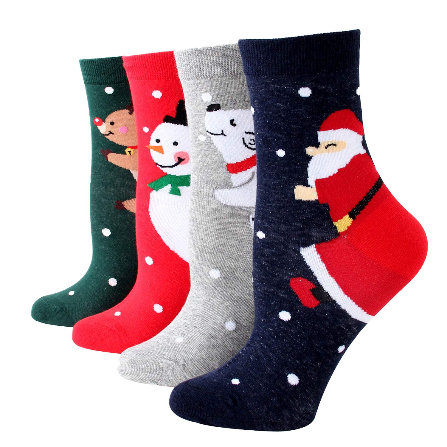 Wowsoul Funny Socks for Women Novelty Funky Cute Cartoon Socks 4Pack 5Pack