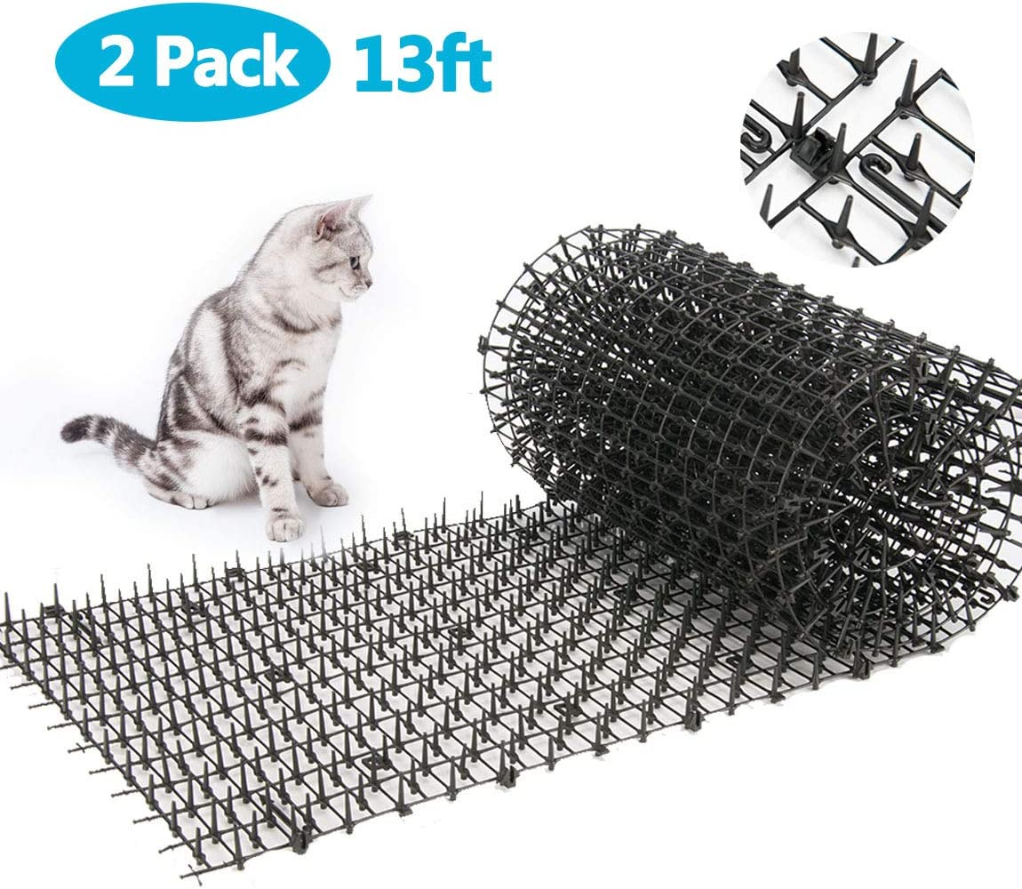 13ft Garden Cat Scat Spike Mat, Anti-Cats Network Digging Stopper Prickle Strip Home Spike Deterrent Mat 6.5ft2PCS