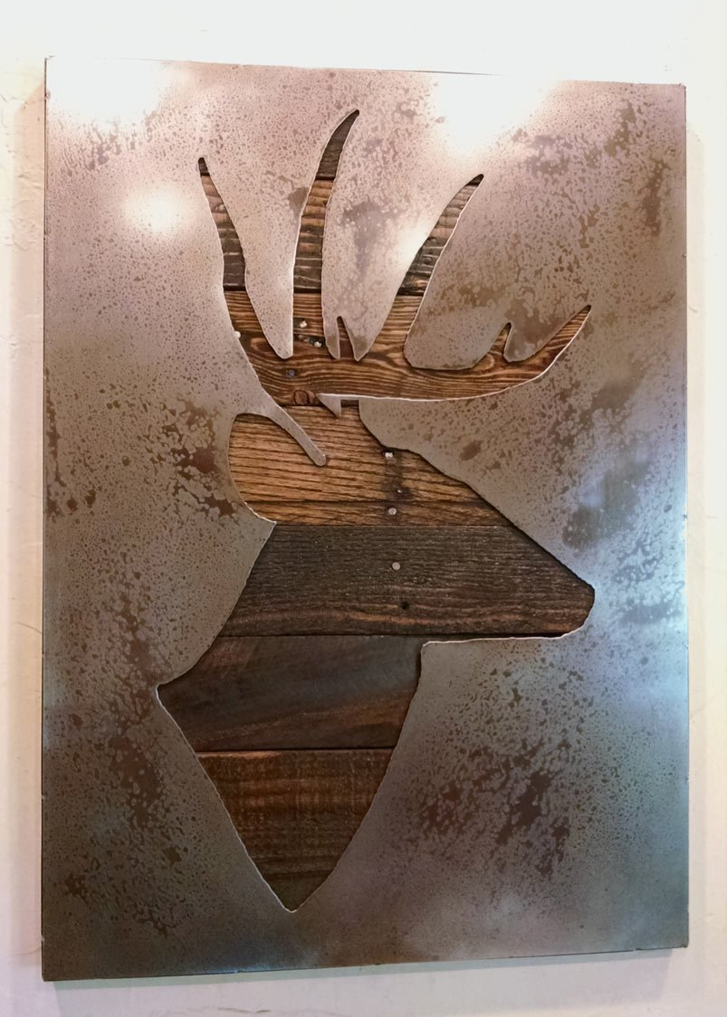 Deer Silhouette - Stag Deer - Buck -Metal Art - Reclaimed Wood and Aged Steel - 20x28 - by Legendary Fine Art by LegendaryFineArt