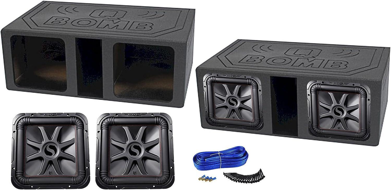 2 KICKER 45L7R122 12 1200w L7R Subwoofers Solo-Baric+Vented Bedlined Sub Box