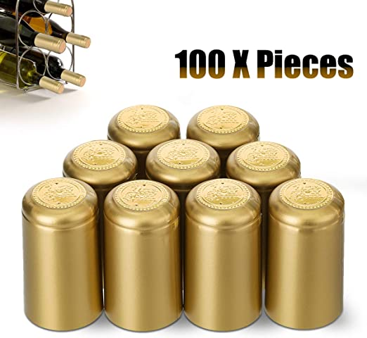 PVC Heat Shrink Capsules 110 Count Red Wine Shrink Wrap Wine Bottle Corks Capsules for Professional Wine Cellars and Home Use