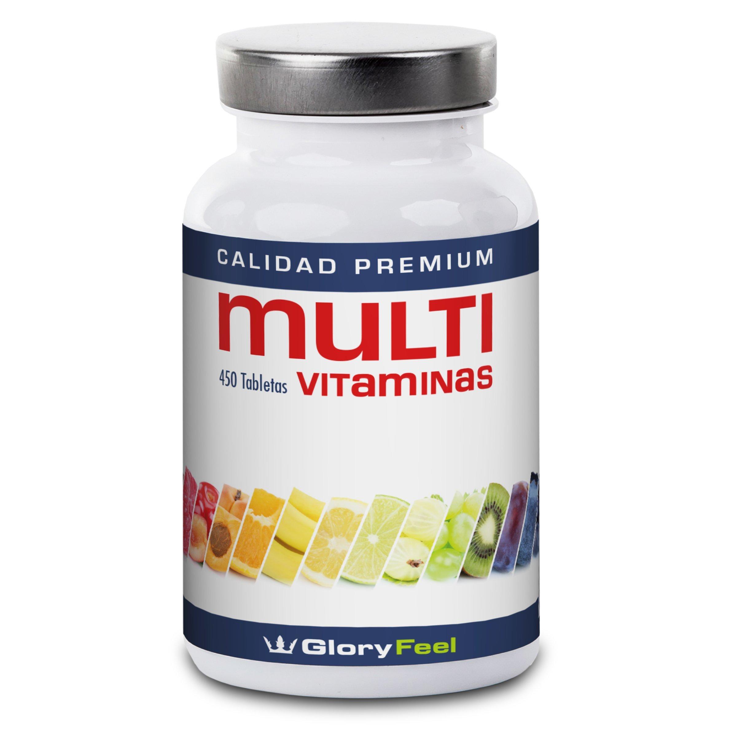 Vitaminas y Minerales - Multivitaminas 450 Pastillas Veganas - Complejo Multivitaminico para vegetarianos y veganos -