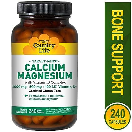 Country Life - blanco-Mins calcio y magnesio con vitamina D complejo - 240 cápsulas