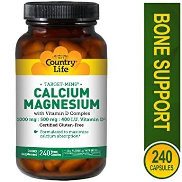 Country Life - blanco-Mins calcio y magnesio con vitamina D complejo - 240 cápsulas vegetarianas: Amazon.es: Salud y cuidado personal