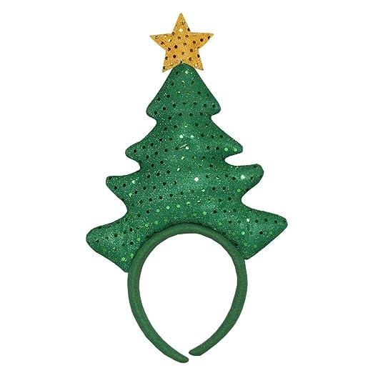 "Amazon.com  Dyno 14"" Green Sequin Christmas Tree with Yellow Star Headband  Costume Accessory  Clothing 0c69517f02f"