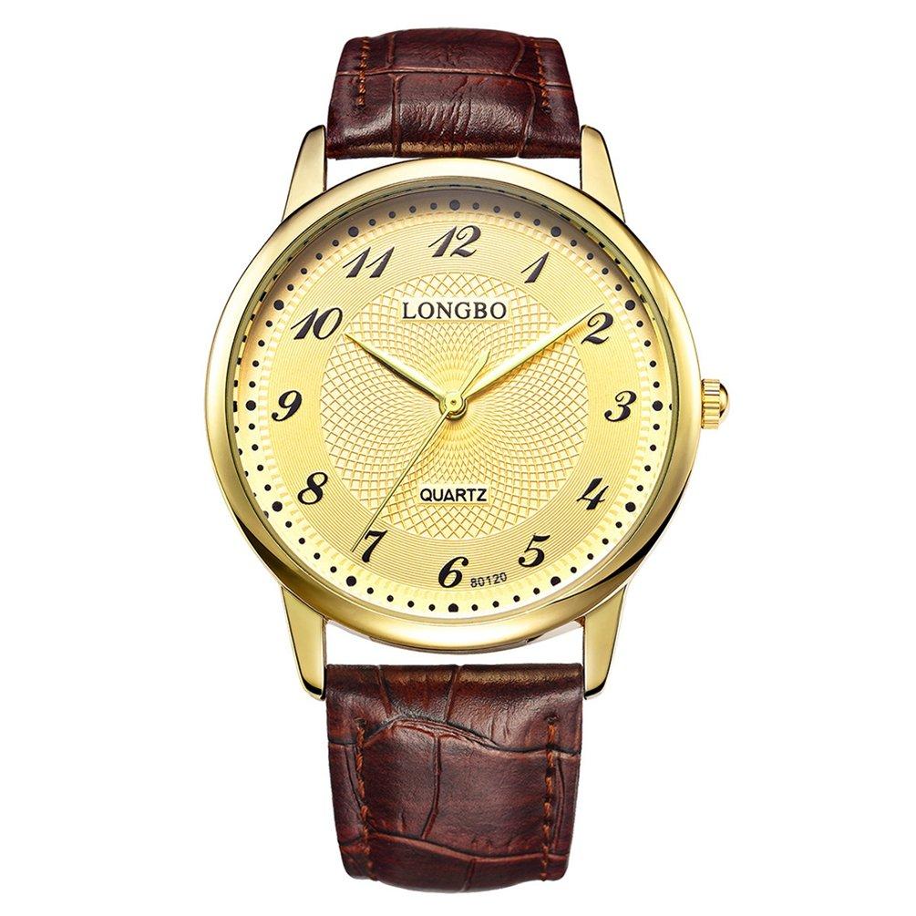 メンズ防水ブラックレザースリムEasy to Read Large Faceクオーツ腕時計 – ホワイトダイヤル 4.0cm Dial Men's Yellow&Brown B071YWKJL5Yellow&Brown 4.0cm Dial Men's
