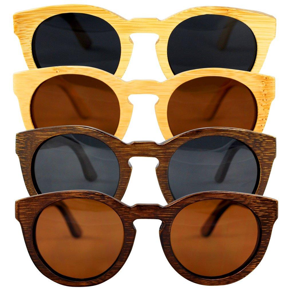 Sonnenbrille aus Bambus - 100% Handgefertigt - Polarisierende Gläser – Optimaler UV400 Schutz - CE Standards - Umweltfreundlich - Retro / Vintage Look – Modetrend für Männer und Frauen – Tuch und Bambus-Etui ANGEBOT