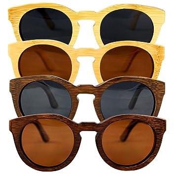 Lunettes de soleil en bois à la main 100% Bambou Lentille Noir polarisée 0J3zLQ