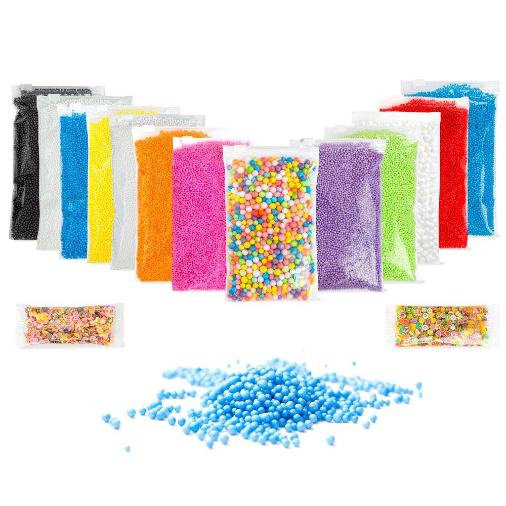 Slime Supplies Colorful Foam Beads for DIY Slime: BONUS Fruit Slices & INSTRUCTIONS, 16 PACK