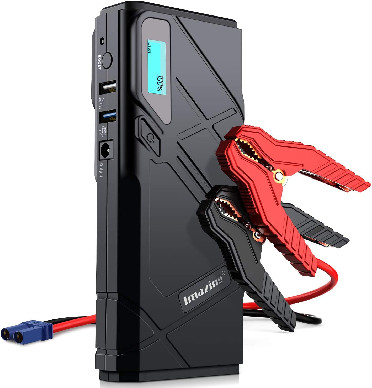 1500A Peak 20000mAh Portable Car Battery Charger Moto Battery Booster Power Pack with Smart Clamps USB Ports LED Light Car Jump Starter All Gas or 7.0L Diesel