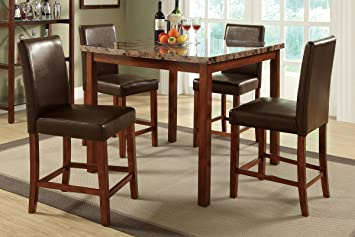 Poundex Marble Dining Table 4 Counter Height Chairs