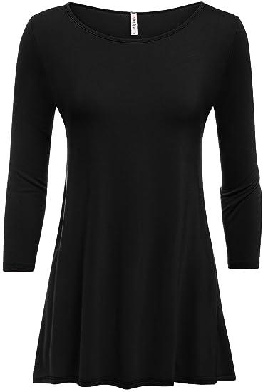 Simlu Womens Tunic Tops for Leggings Reg and Plus Size 3/4 Sleeve ...