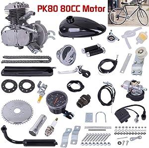 Fiudx Bicycle Motor, PK80 80cc Bicycle Engine Kit,2 Stroke Bicycle Motor Kit,Motorized Bicycle Engine Kit,Upgraded Complete Bike Motor Kit with Speedoemeter,Bike Engine Gas Motor Kit