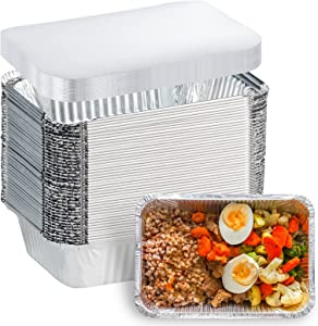 Aluminum foil Pans Disposable Food Containers with Lids - 2.25 LB Heavy Duty Tin Foil Pans - 50 Containers and 50 Lids - for Cooking, Baking, Meal Prep and Freezer - 8.5
