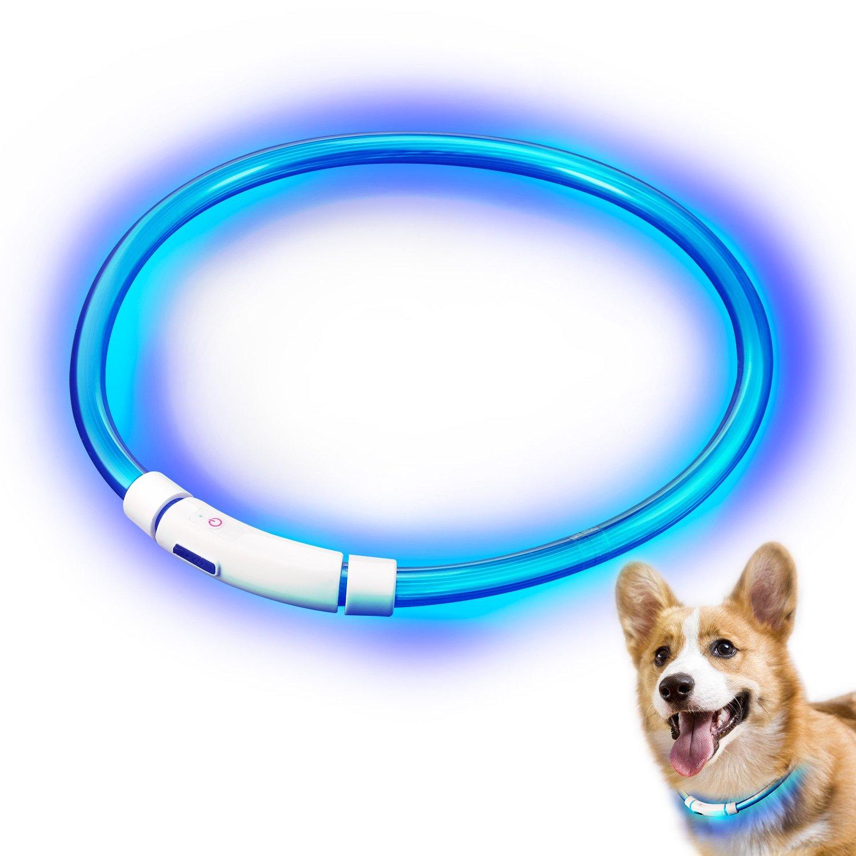 LED Collier pour Chiens/Chat, Rymall USB rechargeable Collar Pet sécurité visibles à 500 mètres étanche Light up Longueur Flashing réglable Collar, Bleu
