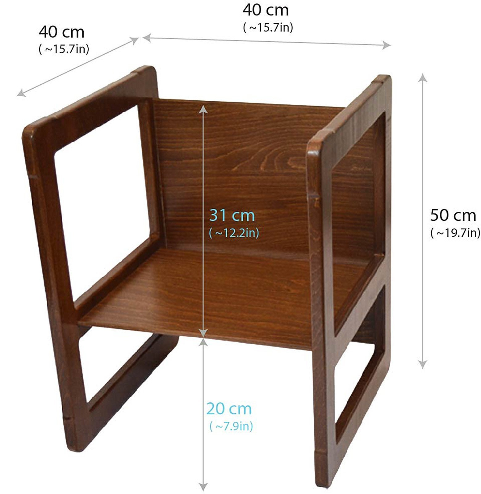 3 in 1 Childrens Multifunctional Furniture Set of 2, One Small Chair or Table and One Large Chair or Table Beech Wood, Dark Stained by Obique Ltd (Image #7)