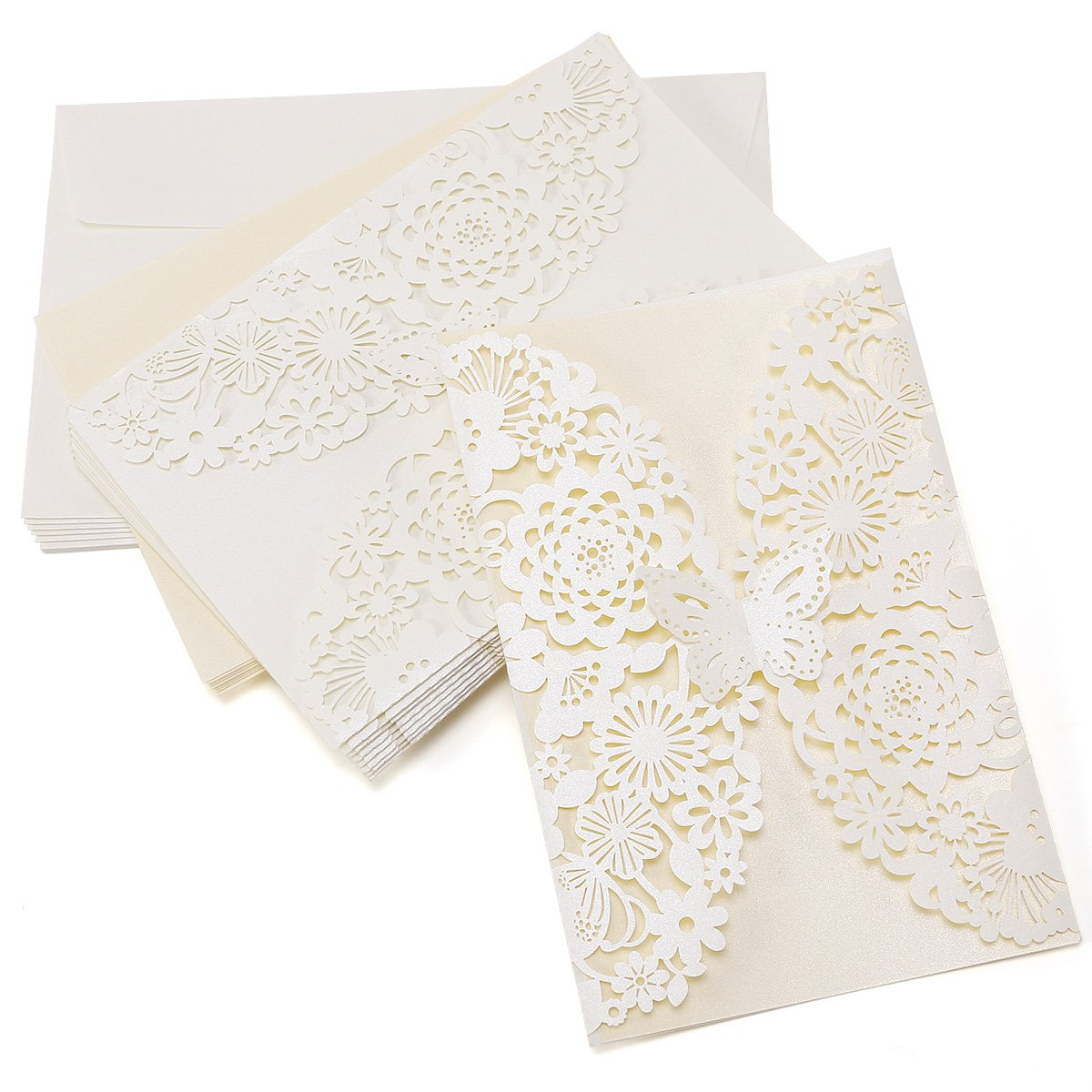 10pcs Laser Cut Personalised Wedding Day Evening Invitations Cards Envelopes SurePromise Limited