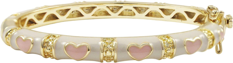 Ivy and Max Gold Finish White Enamel Pink Hearts Girls Bangle Bracelet