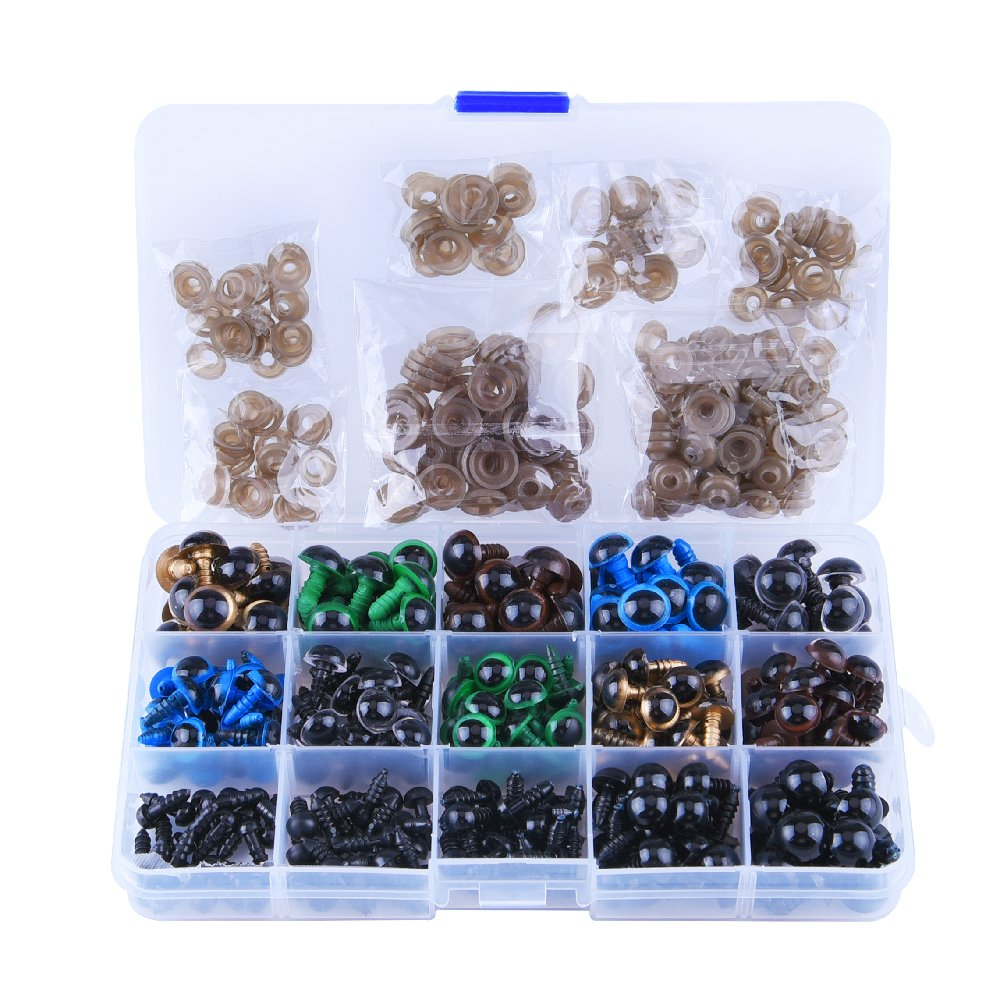 Puppet Kuuqa 264 Pieces Plastic Safety Eyes with Washers for Doll Plush Animal 6~12mm