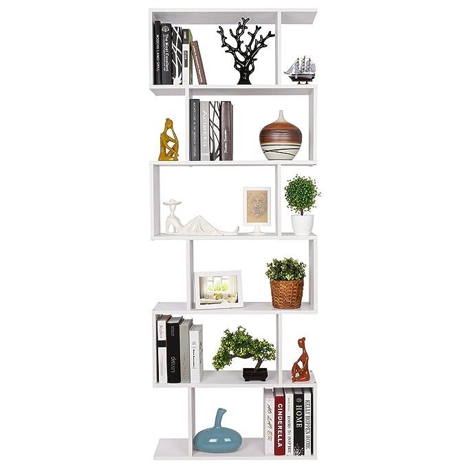 HOMFA Estantería librería 6 Estantes Estantería Pared Estantería Libros de diseño Blanco 70x23.5x190cm: Amazon.es: Hogar
