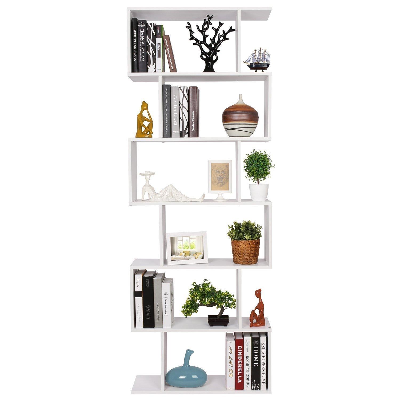 HOMFA Estantería librería 6 Estantes Estantería Pared Estantería Libros de diseño Blanco 70x23.5x190cm product
