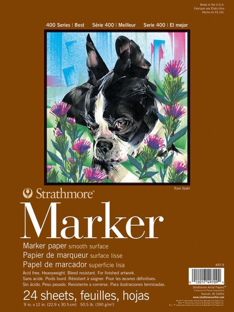 400 Series Marker Pad, 11x14 Glue Bound, 24 Sheets per Pad 11x14 Glue Bound Strathmore 497-11-1