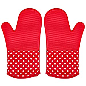 Silicone Oven Mitt for Grill, 1 Pair Extra Long Large Heat Hot Resistant Potholder Glove, Suitable Dishwasher Microwave Duch Countertop Oven, Kitchen Professional Heavy Duty Baking Cooking BBQ Mitten