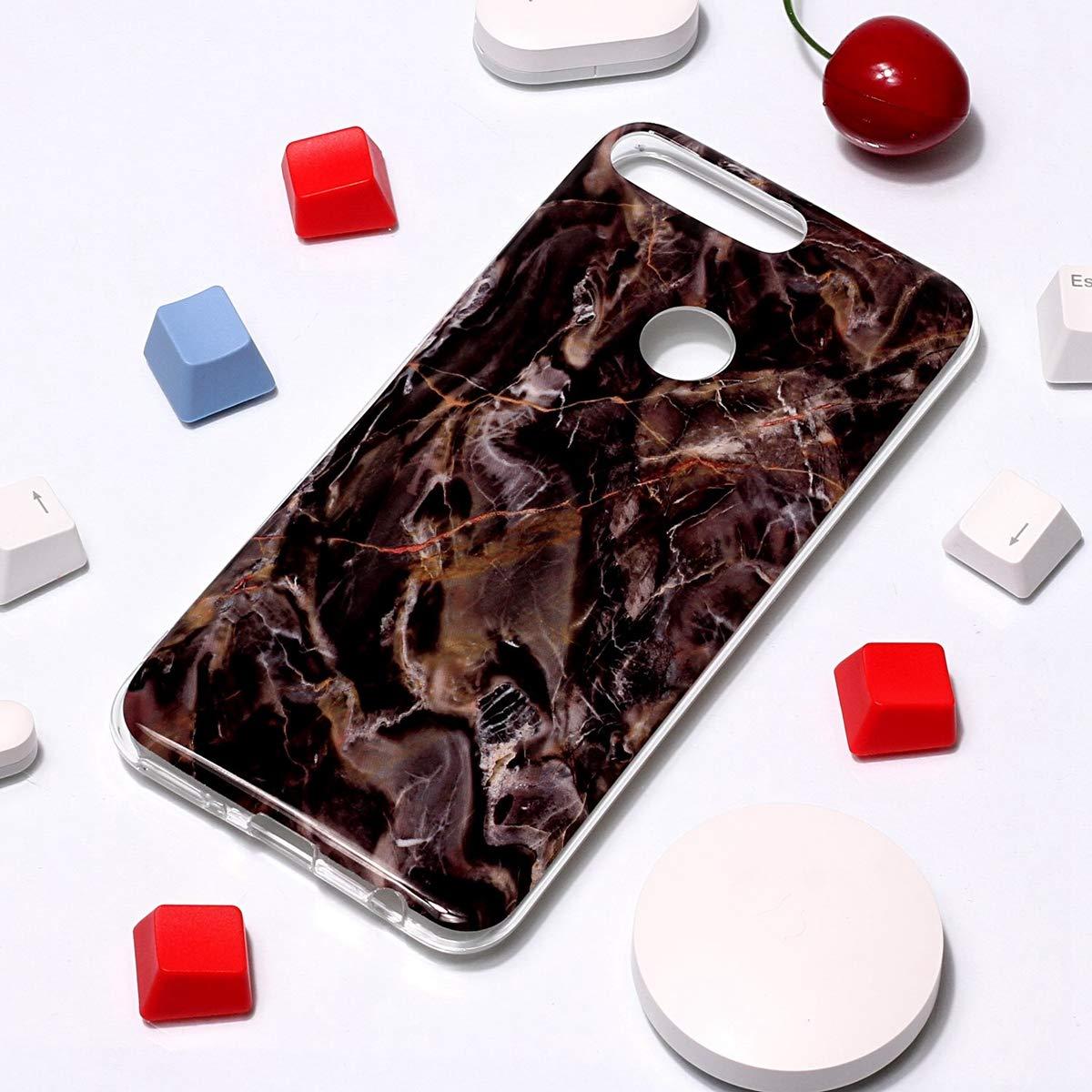 Diamant Tricolore Misstars Coque en Silicone pour Huawei Honor 7A Y6 2018 Marbre Ultra Mince TPU Souple Flexible Housse Etui de Protection Anti-Choc Anti-Rayures Bumper