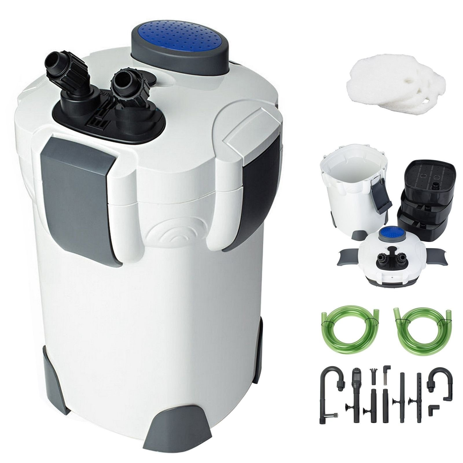 Aquarium New 3-Stage External Canister Filter 265GPH 75Gal with Built-in Pump