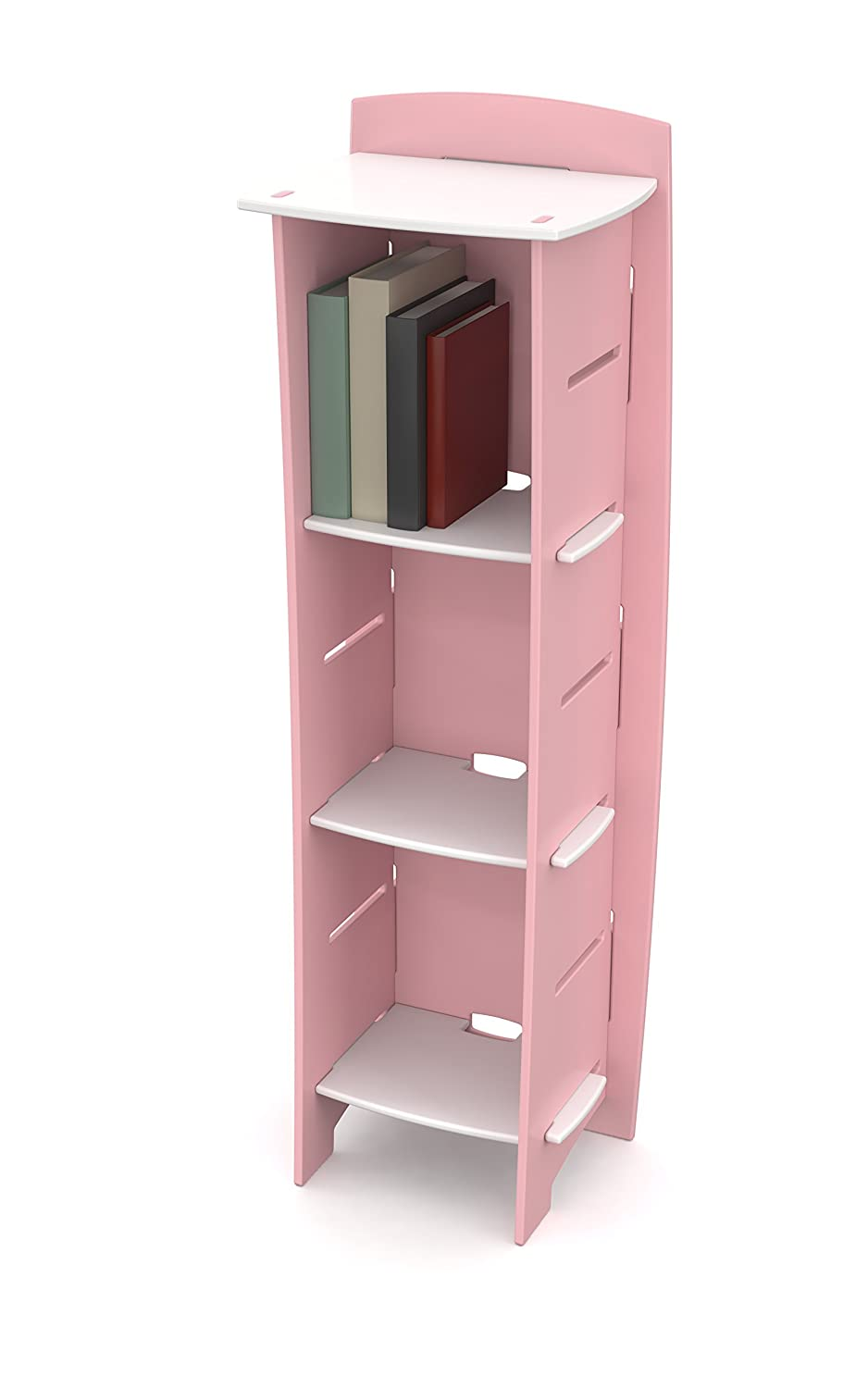 Pink White Legare Furniture Race Car Adjustable 3-Shelf Bookcase, Red