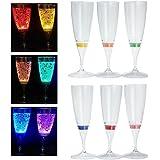 RioRand LED発光 ワイン/シャンパングラス プラスチック材質 6色 6個セット