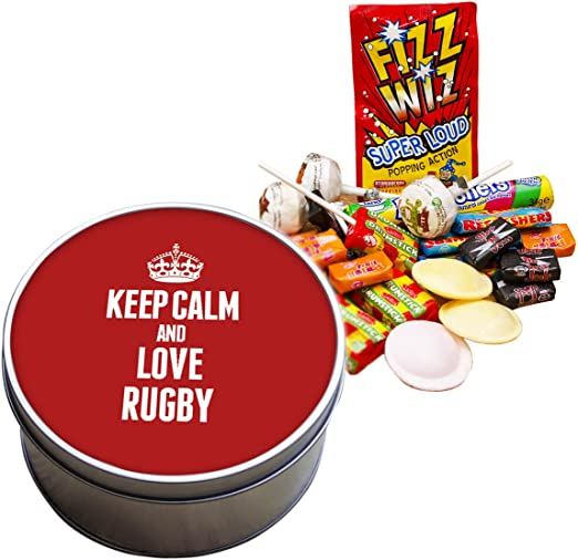 Duke Gifts Red Keep Calm And Love Rugby Retro Sweet Tin 0534