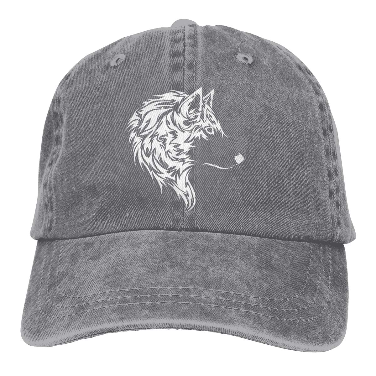 Men Women Washed Yarn-Dyed Denim Baseball Cap Wolf Face Trucker Cap
