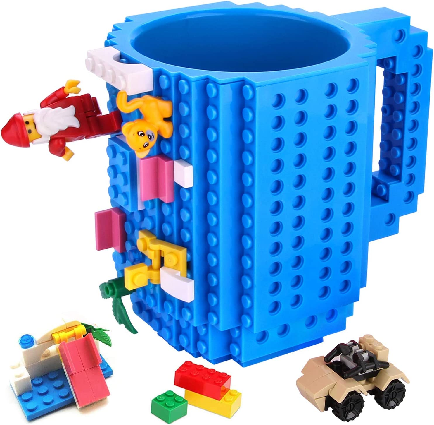 Build-on Brick Mug,Novelty Creative Compatible with Lego DIY Building Blocks Coffee Cup,Fun Mugs,Unique Puzzle Mug,with 3 Packs of Bricks,Beverage Pen Cup for Kids/Office By Sinnsally(Blue)