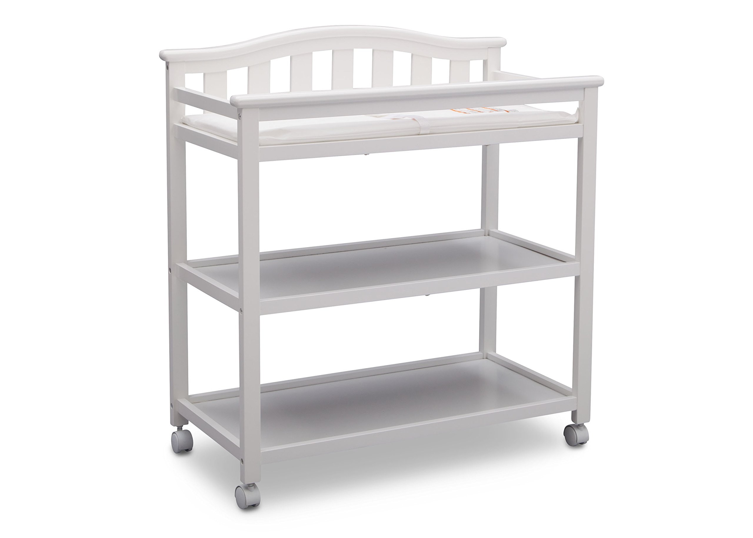 Delta Children Bell Top Changing Table with Casters, Bianca (White) and Simmons Kids Beautysleep Naturally Contour Pad