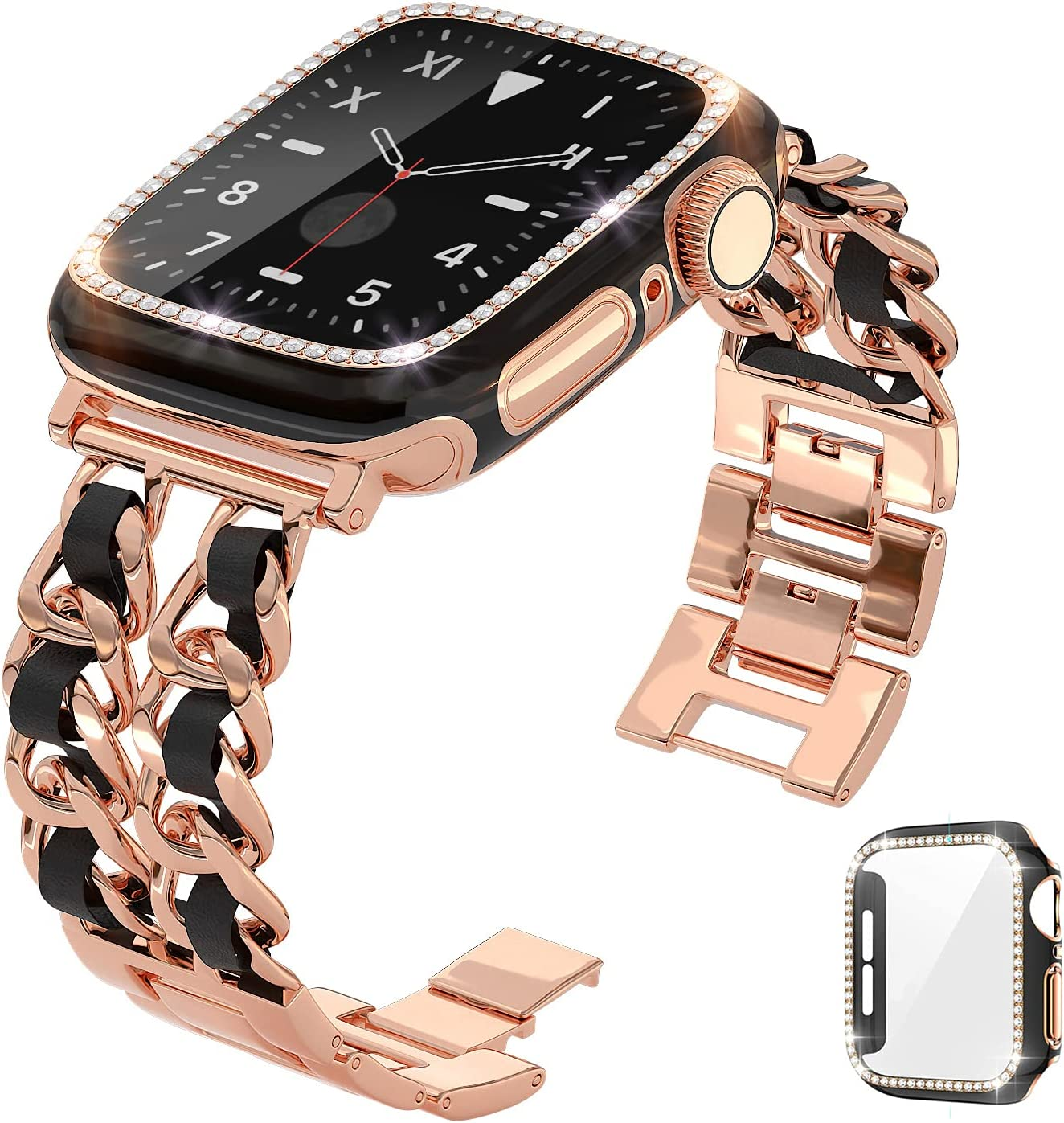 QVLANG Compatible Apple Watch Band 40mm Series 6/5/4/SE, Stainless Metal Replacement Bracelet Wristband for Women + Bling Screen Protector Case for iWatch (Rose Gold/Black, 40mm)