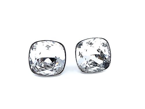 893756fc1dd7 Pendientes cuadrados 100% Plata de Ley y baño de rodio con cristales  Swarovski Elements®