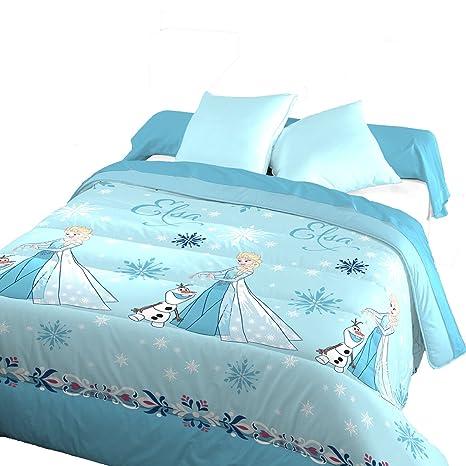 Blau Câlin Bettbezug Disney Eiskönigin, 140 x 200 cm 1 Person, Blau/Weiß, französisches Produkt, dri301400 ELSA