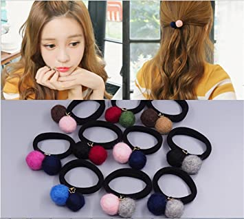 Amazon.com   Wool Felt Ball Hair Tie Bands Ropes Ponytail Holder For  Girls Women (10pc Double ball)   Beauty d6e8afe5b7f