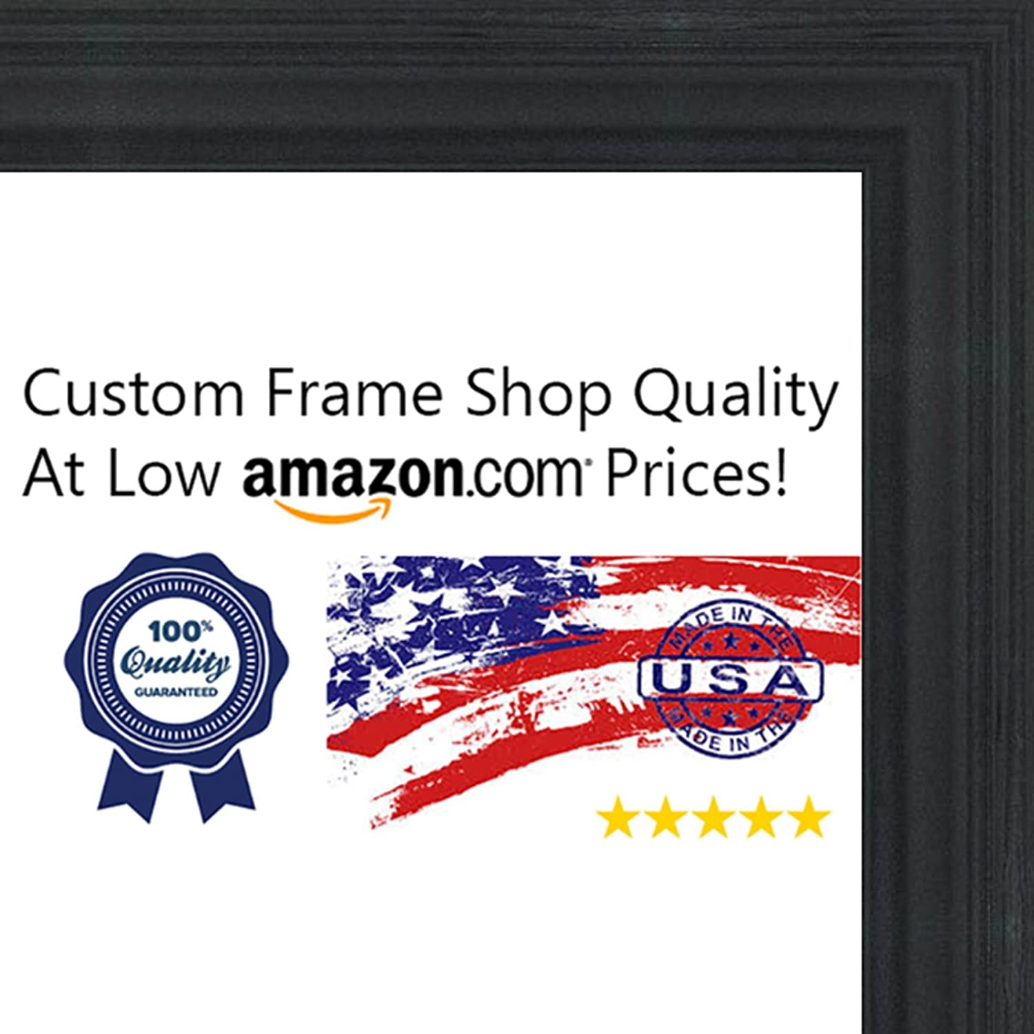 amazoncom 28x28 traditional black wood picture square frame uv acrylic foam board backing hanging hardware included