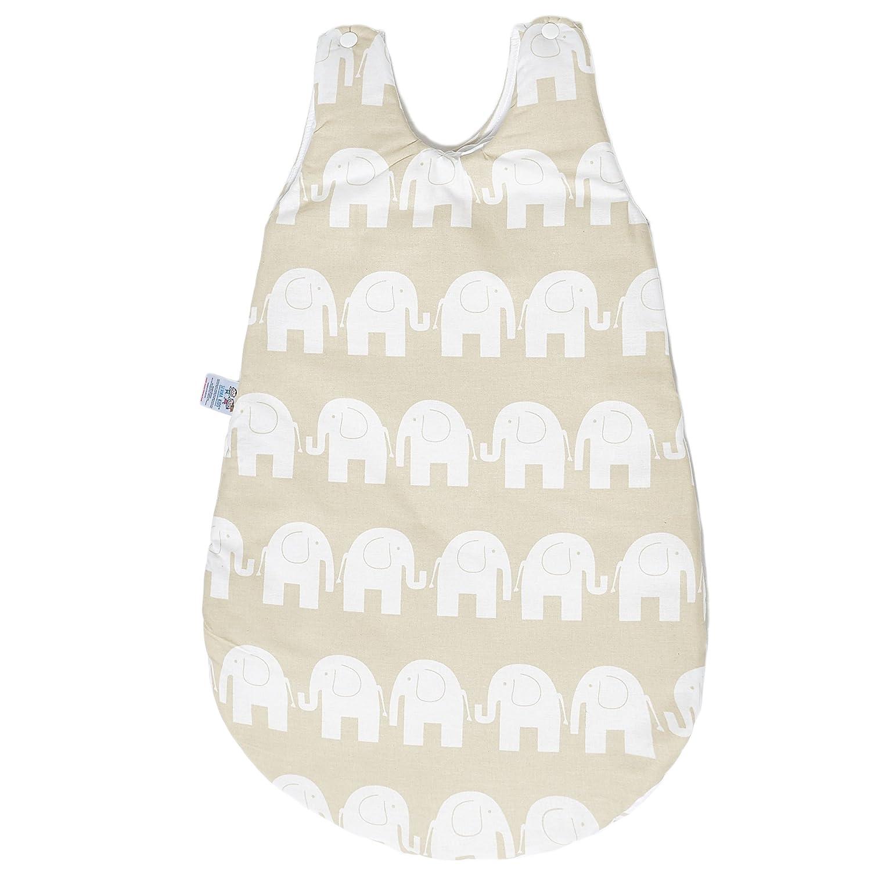 Sevira Kids collezione Elephant per bambini, sacco nanna per tutte le stagioni in cotone, 74cm, 0-12mesi, colori vari blu blue 74 cm, From Birth - 12 Months 74cm 0-12mesi