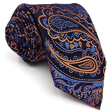 2df3b89fa670 Shlax & Wing Extra Long Mens Necktie Paisley Navy Orange Silk Tie Classic  For Men