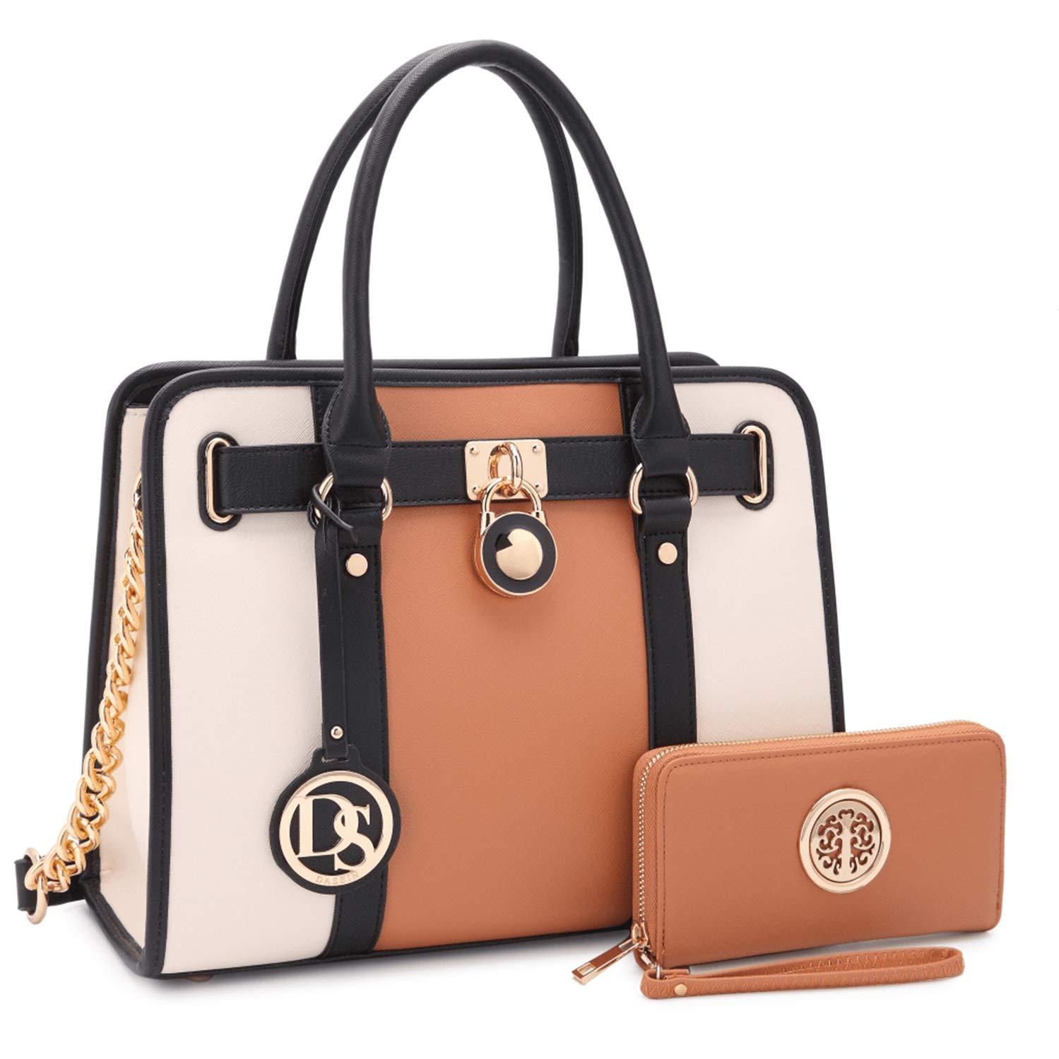 MMK collection Fashion Handbag with coin purse(XL-11) Classic Women Purse Handbag for Women` Signature fashion Designer Purse ~ Perfect Women Satchel Purse (XL-02-7103W-BR/BG) by Marco M. Kerry (Image #1)