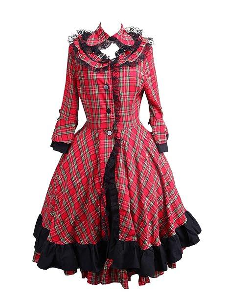 Antaina Vestido de Abrigo de Coser Lolita Victoriana clásica en algodón de Encaje Negra a Cuadros