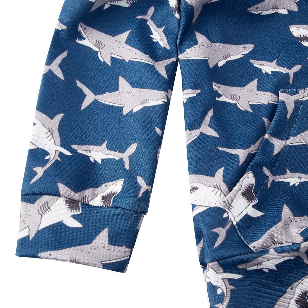 chicolife Baby Shark Bedruckte Langarm-Sweatshirts mit Kapuze 2er-Sets für 12-24 Monate Jungen