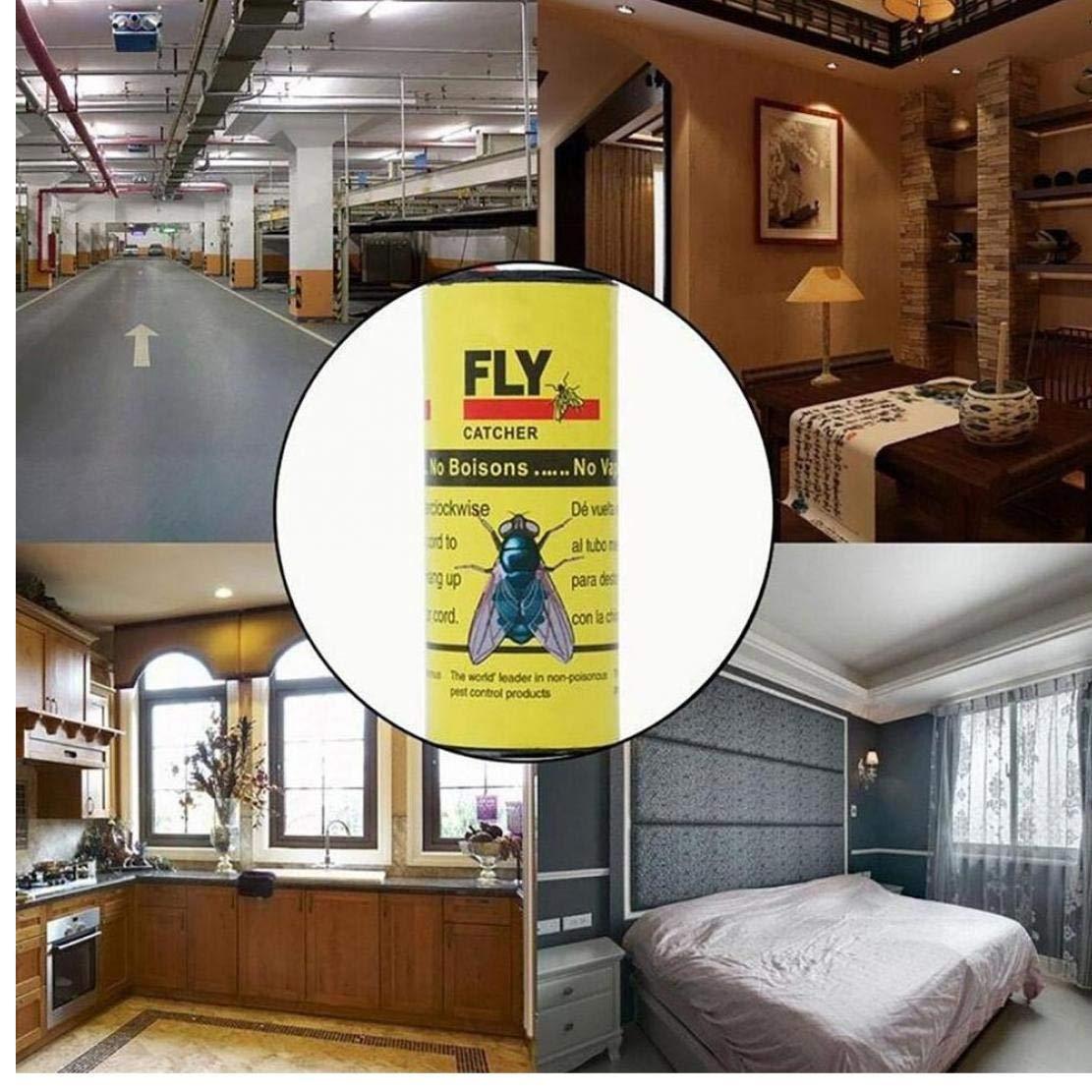 4rolls Fly Papel pegajoso Strip Mosquitos Killer Fly Catcher Trampa 4PC Papel Pest Control 1 de la Cinta de Tira