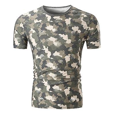 Bonboho Homme T-Shirt Occasionnels Impression Camouflage Avec Trous Manches Courtes Amincissant Tops Pull Col O Blouse Chemise T-Shirt Chandail