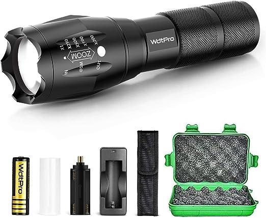 Amazon.com: WdtPro linterna táctica con batería recargable ...