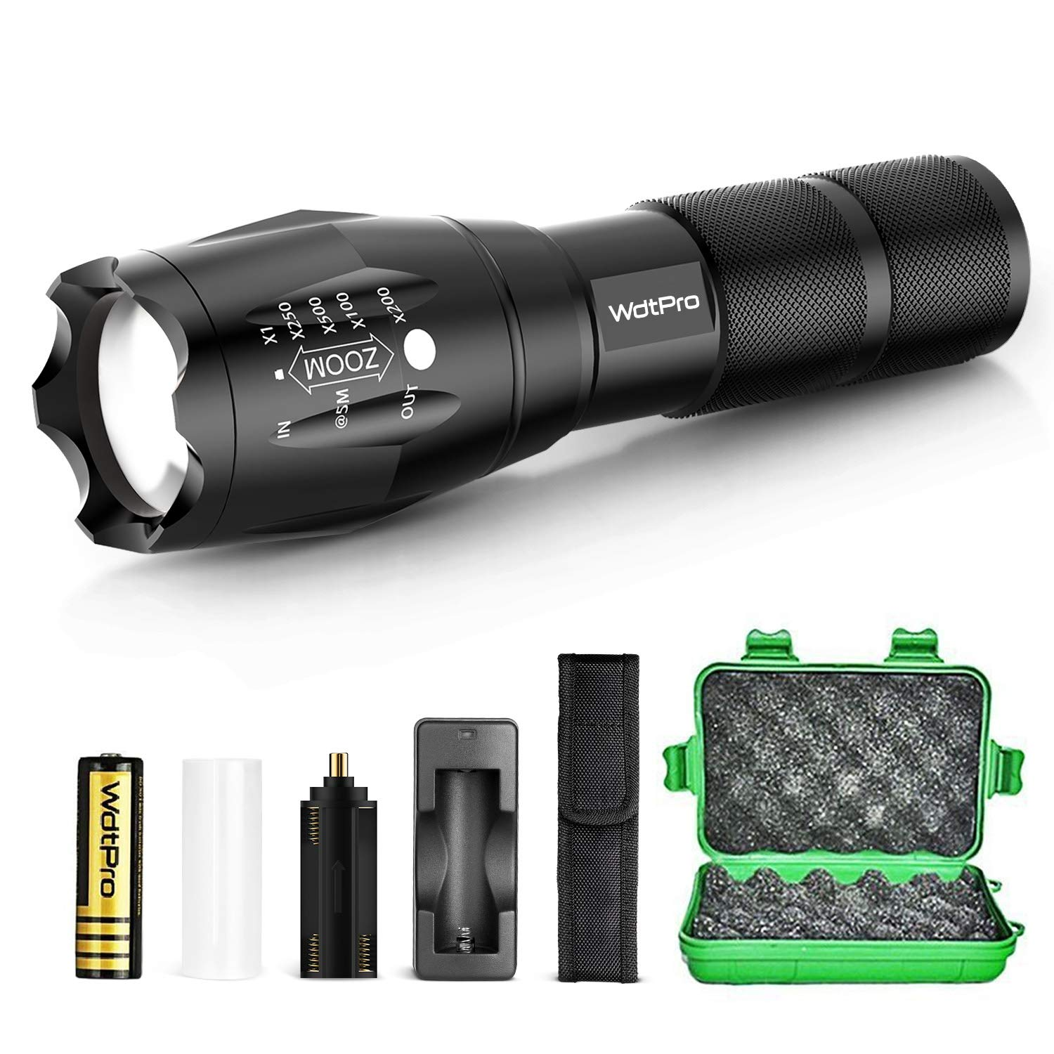 WdtPro Tactical Flashlight with Rechargeable Battery, Flashlight Holster & Charger - High Lumen XML T6 LED Flashlights, 5 Modes, Zoomable, Water Resistant for Camping Emergency by WdtPro