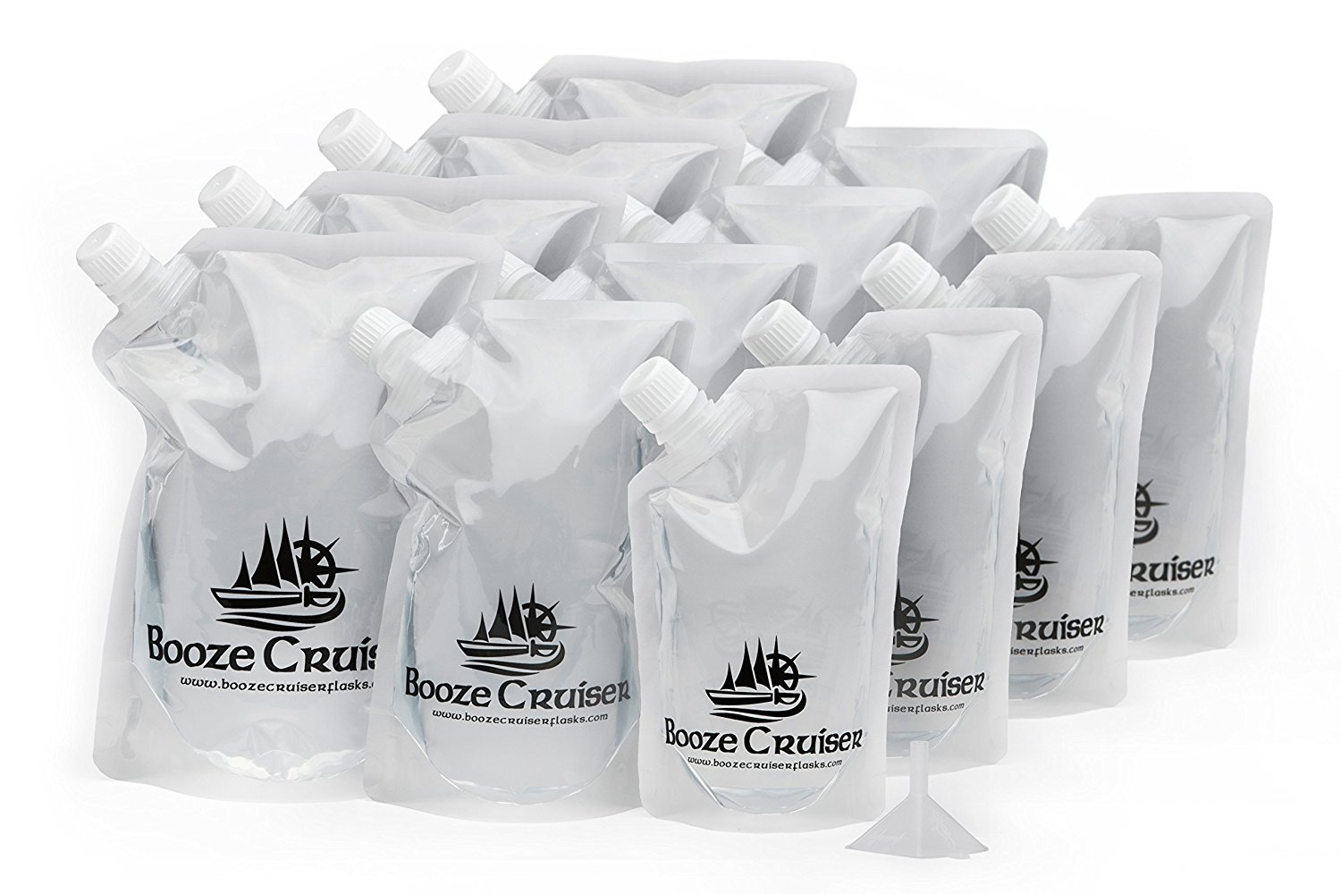 Booze Cruiser Flask Set Perfect For Cruises and Travel or Anywhere You Want a Rum Runner Cocktail Plastic Flask Kit (4x32oz, 4x16oz, 4x8oz + Funnel)
